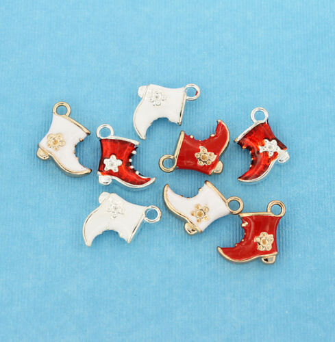 E307 4 Santa/'s Boot Charms Enamel Plated Red and White Fun and Elegant