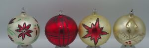 VINTAGE-SHINY-BRITE-MERCURY-GLASS-LOT-OF-4-LARGE-BALL-ORNAMENTS-W-GERMANY