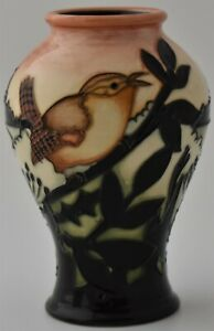 Lovely-Moorcroft-Pottery-Dawn-Wren-Bird-Vase-By-Kerry-Goodwin-Limited-Edition