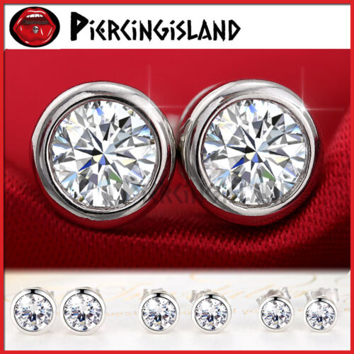 925 STERLING SILVER MENS WOMEN KIDS CT SIGNITY DIAMOND BEZEL ROUND STUD EARRINGS