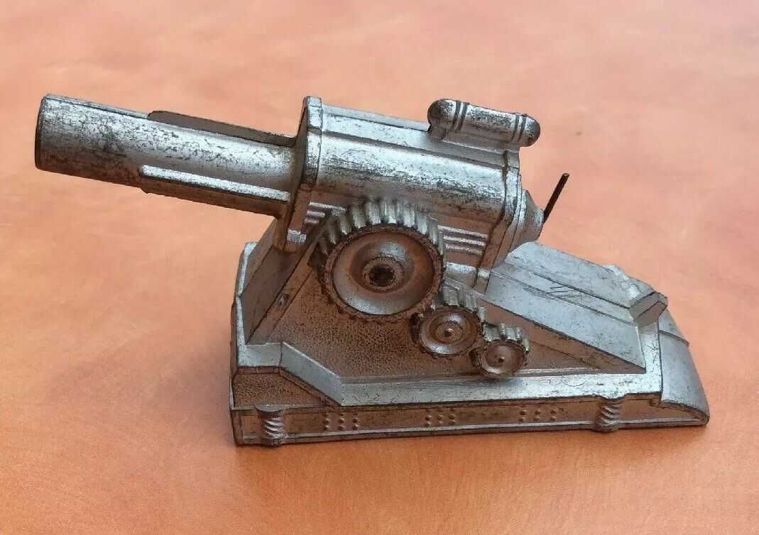 Cannon Spring Loaded Functional Toy Tin Launcher Launcher Silver Vintage Antique