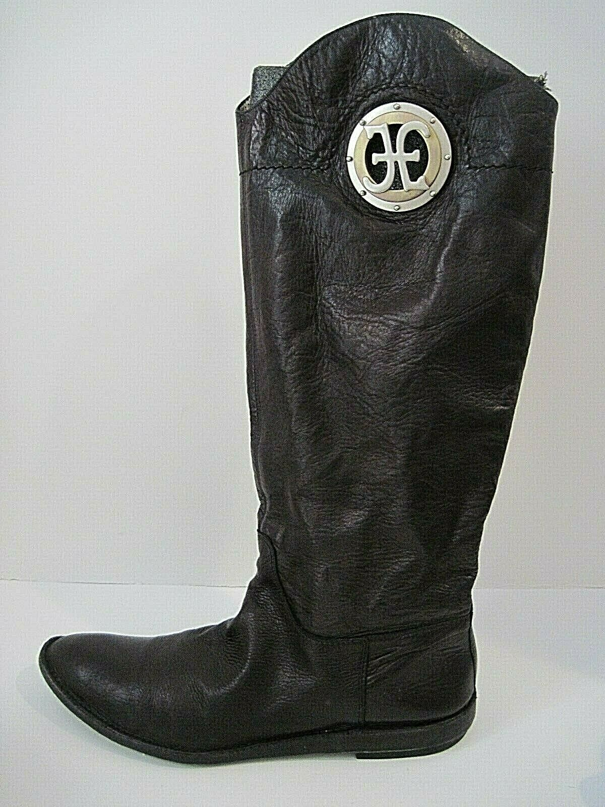 FABI  Black Leather Pull-On Knee Length Boots Silver Tone Brass Logo Sz 40