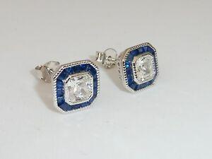 Damen-Art-Deco-Halo-Stil-925-Sterling-Silber-Blau-amp-Weiss-Saphir-Ohrringe