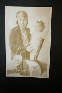 Details about Vintage RPPC Indian Mother & Child with Beaded Flat Bag Real  Photo Postcard