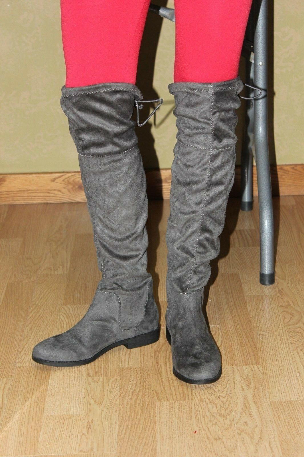 Women's Sociology knee high boots, Faux Suede Fabric, Grey Micro Size 8M