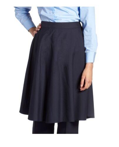 "44/"" Girls Plain School Skirt In Long Lengths Navy Waist 22/"""