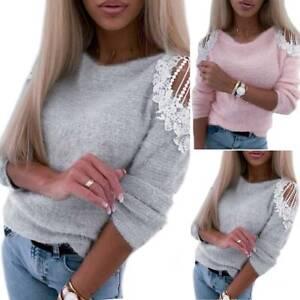 Damen Spitze Patchwork Pullover Pulli Strickpullover Bluse Langarm Sweater Tops