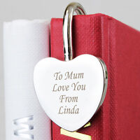 Personalised Silver Heart Bookmark -Free Laser Engraving - Mother's Day Gift