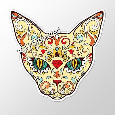 fun car bumper sticker cat sugar skull day of the dead 92 x 89 mm vinyl decal
