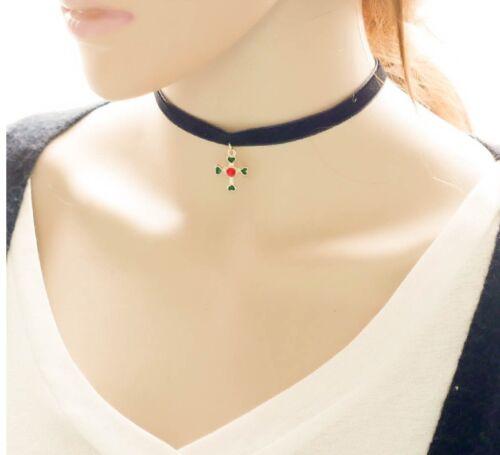 2017 Gothic Velvet Leather Cross Women Choker Neck Black Necklace Pendant P69