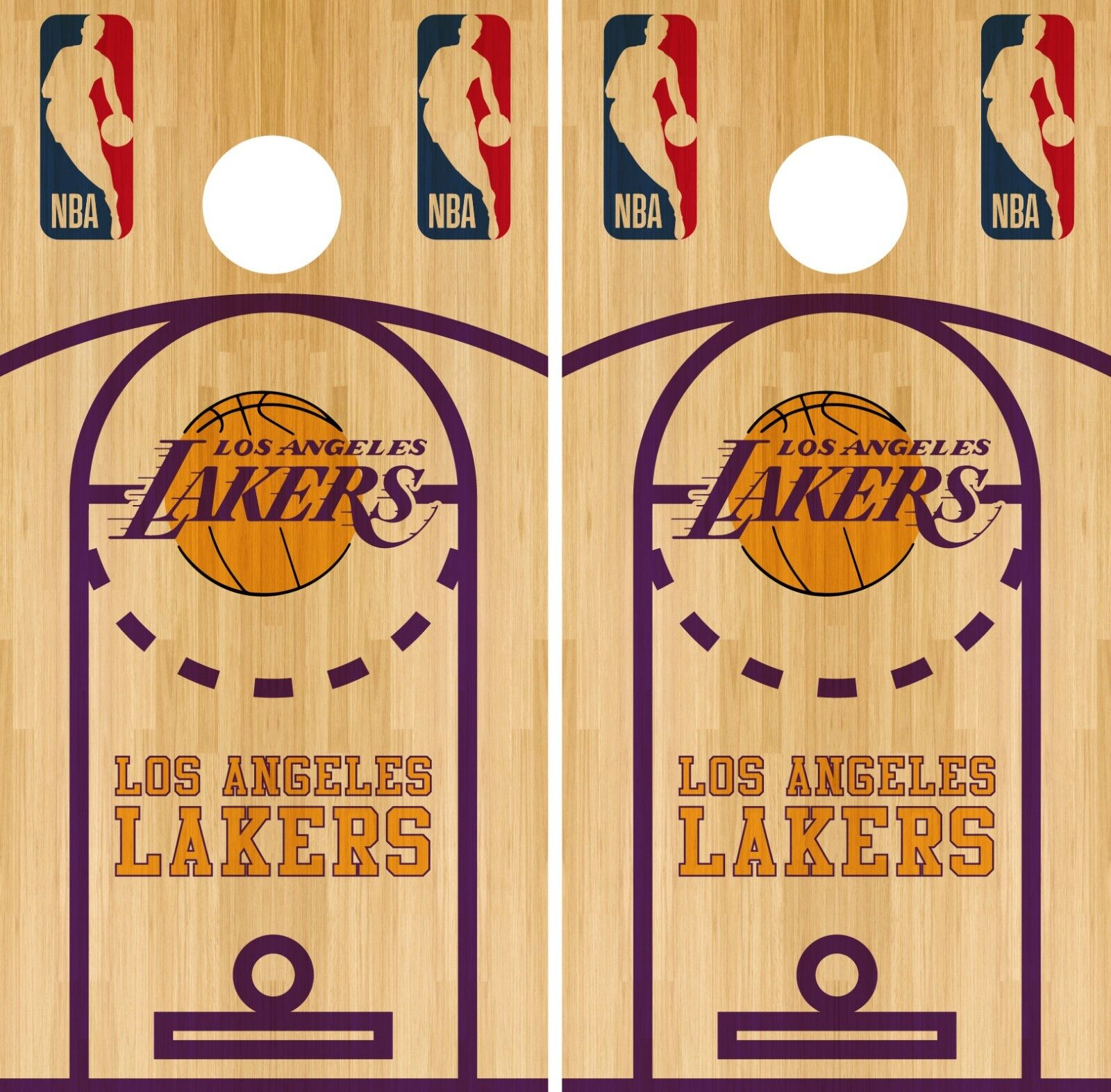 Los Angeles Lakers Cornhole Wrap NBA Court Game Board Skin Set Vinyl Decal CO632