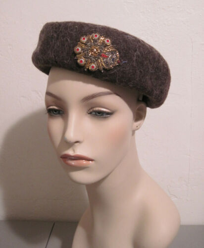 Vintage Brown Wool Pillbox Bumper Hat with Gold &