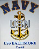 Uss Baltimore Ca-68 Cruiser U.s Navy W/ Anchor Shirt