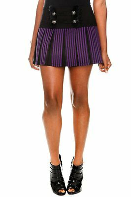 TRIPP NYC PURPLE AND BLACK STRIPE WITH FAUX FUR TRIM SKIRT FROM HOT TOPIC
