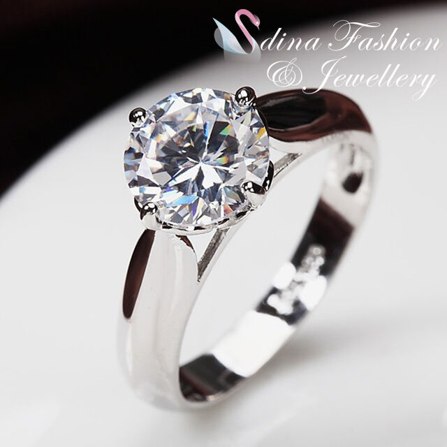18K White Gold Plated Single Simulated Diamond 2.0 Carat Engagement Wedding Ring