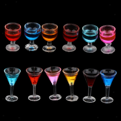 12Pieces Sharp/&Round Cocktail Goblet with 6 Color Dollhouse Dining Room Accs