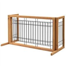 Adjustable Dog Gate Indoor Solid Wood Construction Pet Fence Gate Free Standing