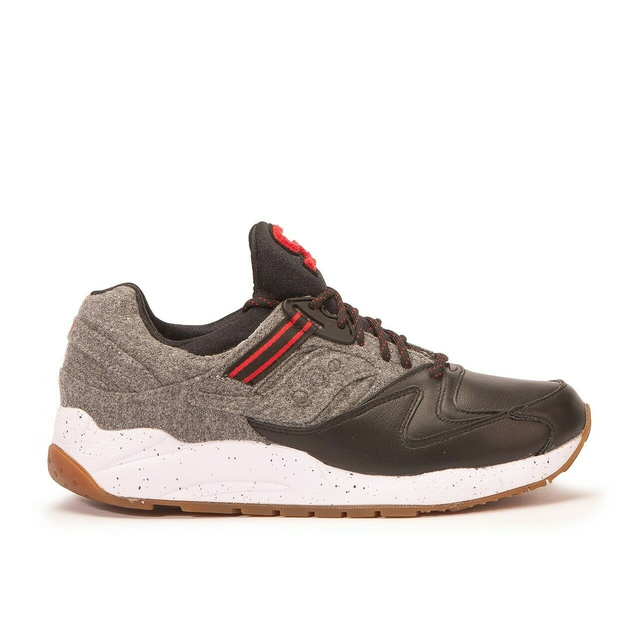 SAUCONY GRID 9000 LETTERMAN S BLACK GREY WHITE RED LEATHER WOOL S70259 1 NEW 7.5 | eBay