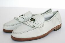 UK 8.5 Bally Shoes - White leather loafer vintage shoes
