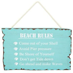 Beach-Rules-Sign-Blue-Aqua-Wooden-Hanging-Wall-Plaque-Theme-Coastal-Home-Decor