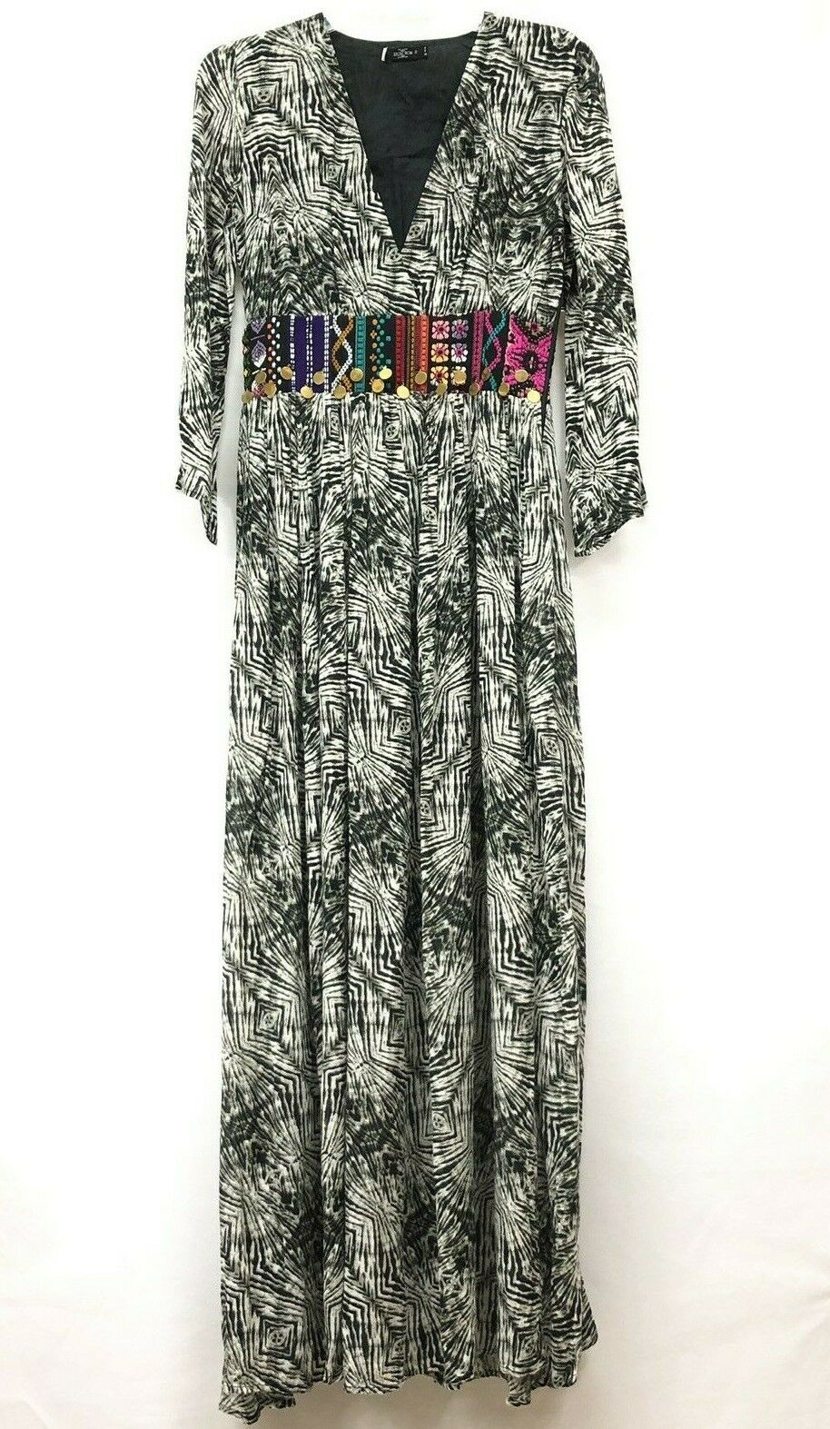 NEW Volcom Boho Print Embroidered Maxi Dress Sz S Stunning