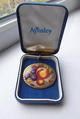 Aynsley Orchard Gold Brooch Hand Painted Vintage Boxed Fine Bone China British