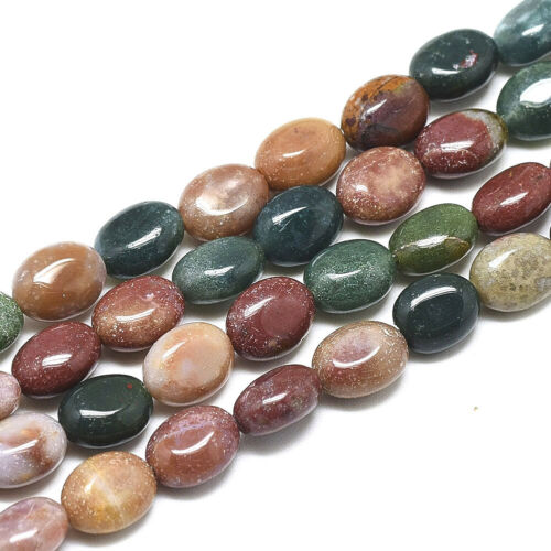 49~50pc//Strd Oval Natural Indian Agate Beads Smooth Gems Loose Spacer Bead 8x6mm