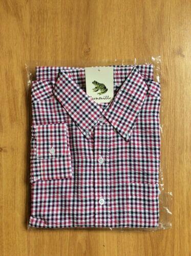 Men's Grenouille Seersucker Cotton Long Sleeve Shirt Navy//cerise//white check