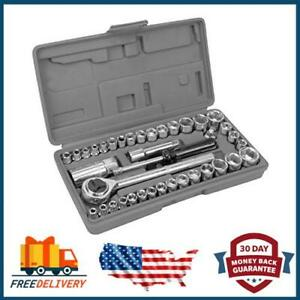 "3 in 1 Stubby Ratchet Set 40 Piece Mechanics Socket Wrench Kit 1//4/"" 3//8/"""