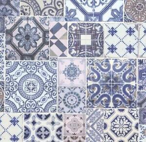 Details Sur P S Marocain Carrelage Effet Collage Papier Peint Ornements Bleu Blanc Coller Au Mur Afficher Le Titre D Origine