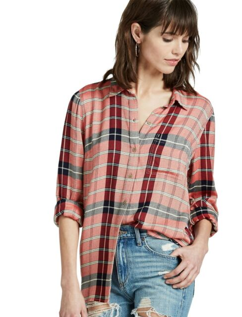 Lucky Brand - Women's XS - NWT $79 - Red Plaid Flannel Twill Back Overlay Shirt