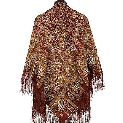 Pawlow Posad/Pavlovo Posad russischer Schal-Tuch Tradition125x125 Wolle 598-56