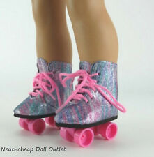 "Rainbow Glitter Colorful Rollerskates Skates Shoes Fits 18"" American Girl Doll"