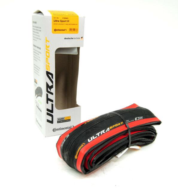 Continental Ultra Sport III 700x25 Black//Red Folding PureGrip