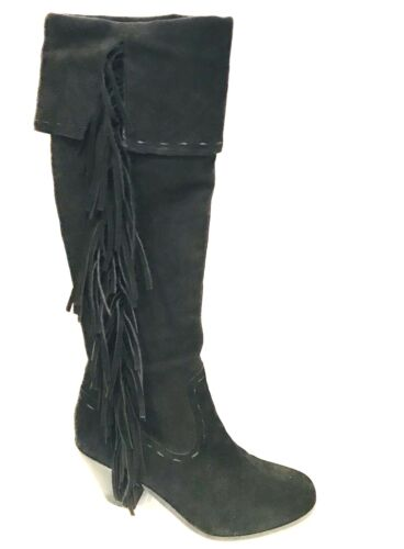 Sam Edelman Black Suede Leather Knee High Boots si