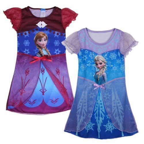 Frozen Night Robe Nuisette Rouge Violet Disney Anna Bleu Elsa Neuf Robe Été