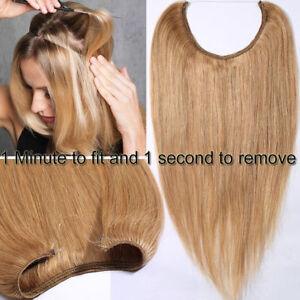 12fc1f85c17 Details about Human Hair Extensions halo One Piece Invisible Wire 100% Remy  Human Hair 120g