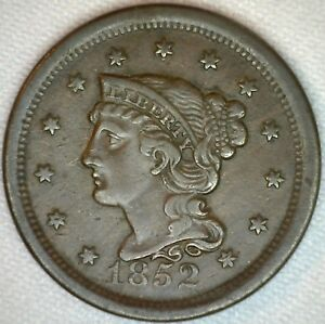1852-Braided-Hair-Liberty-Head-Large-Cent-US-Copper-Type-One-Cent-Coin-XF-K35
