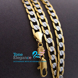 18k-white-yellow-gold-GF-ladies-mens-solid-chain-Necklace-w-curb-ring-link