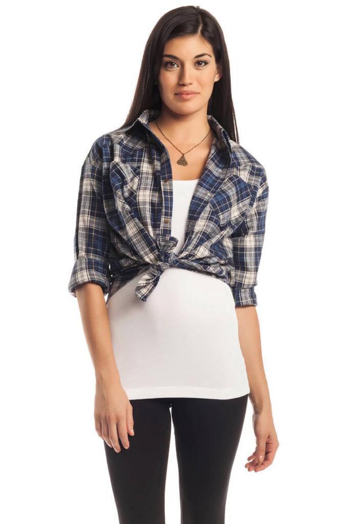 LNA Cropped Flanelle Blau Plaid Cotton Shirt Top poches sur le devant NEUF