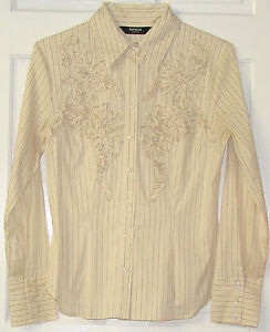 cd877d79 Image is loading Express-Stretch-Womens-Tan-Beige-Striped-Long-Sleeve-