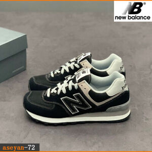 Brand-new-New-Balance-Men-s-574-Ripstop-new-Balance-suede-Black-Trainers-size