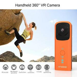 360° Panoramic VR HD Video Camera Dual 210° Wide Angle FishEye Lens Orange E5D8