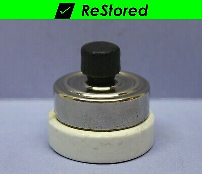 NEW Vintage National Brown Bakelite Round Single-Pole Turn Rotary Light Switch
