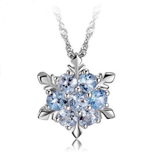 S925021 925 Sterling Silver Blue Frozen Princess Elsa Snowflake Pendant Necklace