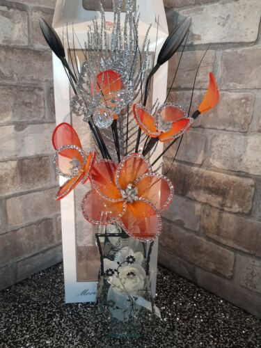 Fleur artificielle arrangement Paillettes Rose Nylon fleurs en miroir vase Boxed