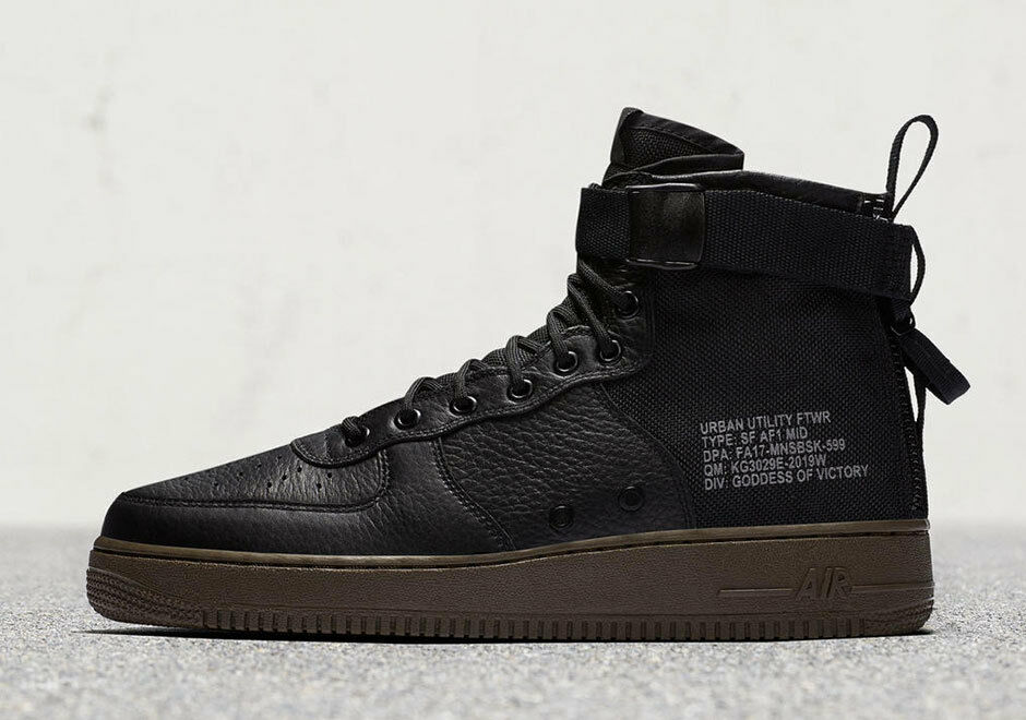 Nike SF AF1 Special Field Air Force 1 Mid Black Dark Hazel Gum 917753-002 Cargo