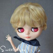 "【Tii】8-10"" NEO 12"" Blythe Hair doll wig milk blond short boy curly not scalp"