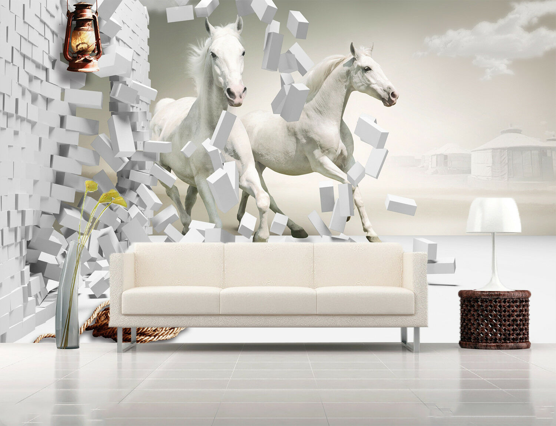 3D Weiß Horses Rope 7 Wall Paper Murals Wall Print Wall Wallpaper Mural AU Kyra
