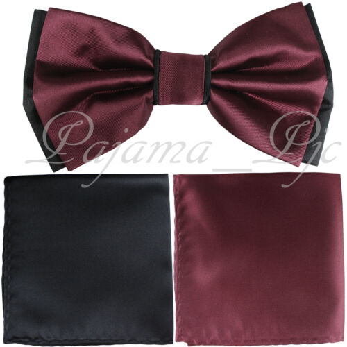 Wedding White Black Pre-tied Bow tie /& Pocket Square Hanky Two Layers 3pc set